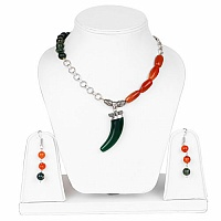 Two Tone Plated Elephant Horn Shape Statement Necklace Set