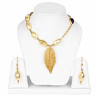 Handmade Gold Plated Amethyst Stone Leaf Shape Statement Nec