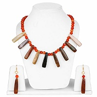 Handmade Gold Plated Carnelian Stone Necklace Set