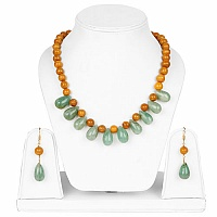 Handmade Gold Plated Multi Stone Necklace Set