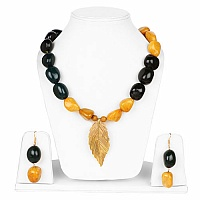 Handmade Gold Plated Multi Stone Leaf Shape Statement Neckla