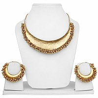 Gold Plated Half Moon Statement Necklace and Earrings Set fo