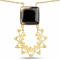 Gold Plated Solitaire Black Onyx Designer Fashion Pendant fo