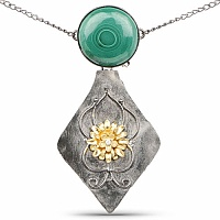 Two Tone Plated Malachite & Cubic Zirconia Studded Pendant f