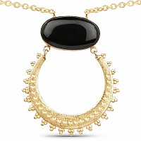Gold Plated Solitaire Black Onyx Exquisite Fashion Pendant f