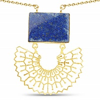 Gold Plated Solitaire Blue Lapis Lazuli Exquisite Floral Fas