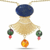 Gold Plated Antique Lapis Lazuli Solitaire Fashion Indigo Bl