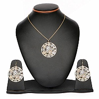 Two Tone Plated Brass Filigree Pendant Set