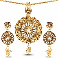 Traditional Gold Plated Pearl Beaded Pendant Set For Women