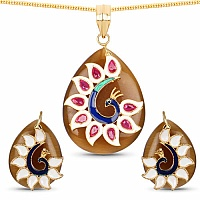 Fashion Enamel Gold Plated Peacock Inspired Brown Stone Pend