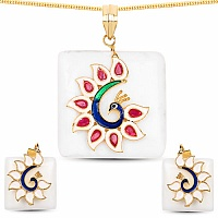 Fashion Enamel Gold Plated Peacock Inspired White Stone Pend