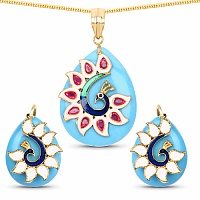 Fashion Enamel Gold Plated Peacock Inspired Blue Stone Penda