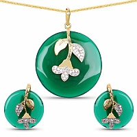 Gold Plated Fashion Floral Style Green Pendant Set Embedded