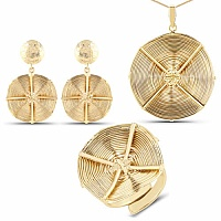 Gold Plated Exquisite Brass Wired Pendant Set for Women