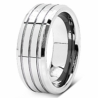 17.60 Grams Tripple Groove 8MM Tungsten Carbide Wedding Ring Ba