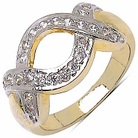 3.10 Grams White Cubic Zirconia Gold Plated Ring