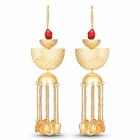 Designer Gold Plated Red Stone Earrings For Women