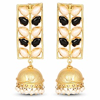 Designer Gold Plated Multi Colour Stone Temple Earrings For