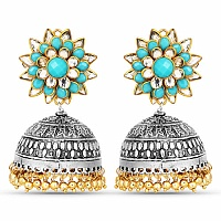 Designer Two Tone Plated Floral Shape Temple Earrings For Wo