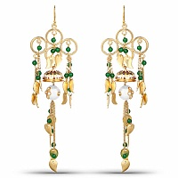 Designer Gold Plated Chandelier Enamel Earrings For Women