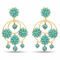 Designer Gold Plated Pacchi Drop Earrings For Women