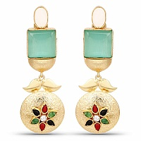Designer Gold Plated Multi Stone Earrings For Women