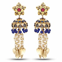 Designer Gold Plated Multi Stone Temple Earrings For Women