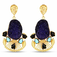 Designer Gold Plated Multi Stone Dangle Earrings For Women