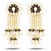 Designer Gold Plated Pacchi Floral Shape Earrings For Women