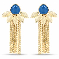 Designer Gold Plated Blue Stone Floral Shape Earrings For Wo
