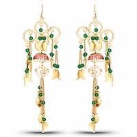 Designer Gold Plated Multi Stone Floral Shape Earrings For W