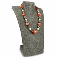 Fashion Statement Gold Plated Pearl Beaded Orange Necklace f