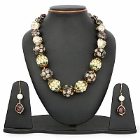 Gold Plated Antique Designer Pearl Necklace and Earring Set