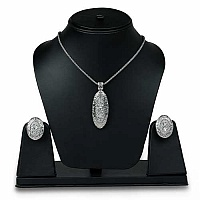 Gleam Touch 48.54 Grams White Cubic Zirconia Necklace Set
