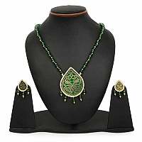 Green Stone & Golden Synthetic Balls Gold Plated Brass Thewa