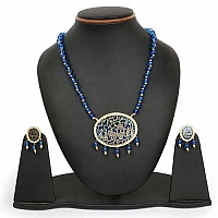 Blue Stone & Golden Synthetic Balls Gold Plated Brass Thewa