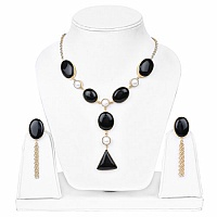 Yellow Rhodium Plated Contemporary Necklace Set Adorned with