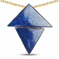 Yellow Rhodium Plated Contemporary Blue Triangles Pendant Ad