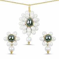 Multistone & White Synthetic Pearl Gold Plated Brass Floral