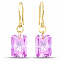 Designer Gold Plated Amethyst Cubic Zirconia Stone Earrings
