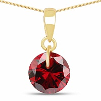 Designer Gold Plated Red Cubic Zirconia Stone Pendant