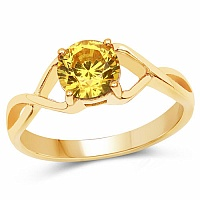Designer Gold Plated Yellow Cubic Zirconia Stone Ring