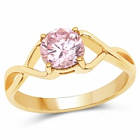 Designer Gold Plated Pink Cubic Zirconia Stone Ring