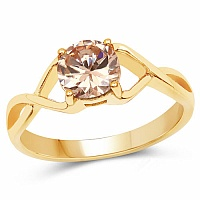 Designer Gold Plated Champagne Cubic Zirconia Stone Ring