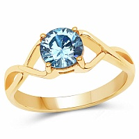 Designer Gold Plated Blue Cubic Zirconia Stone Ring