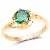 Designer Gold Plated Green Cubic Zirconia Stone Ring
