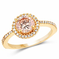 Gold Plated Fashion Statement Champagne Solitaire Cubic Zirc