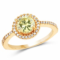 Gold Plated Fashion Statement Yellow Solitaire Cubic Zirconi