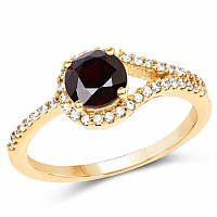 Gold Plated Fashion Statement Red Solitaire Cubic Zirconia R
