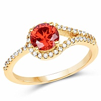 Gold Plated Fashion Statement Orange Solitaire Cubic Zirconi